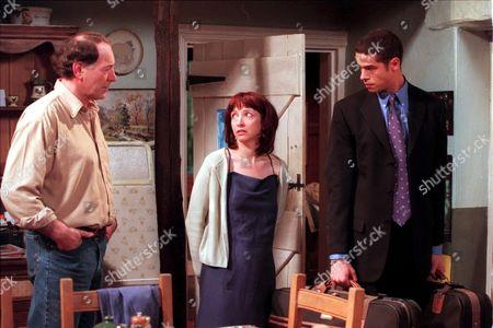 'Emmerdale'  TV - 2000  Jack Sugden [Clive Hornby], Sarah Sugden [Alyson Spiro] and Richie [Glen Lamont]