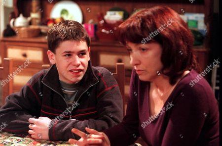 'Emmerdale'  TV - 2000  Andy [Kelvin Fletcher] and Sarah Sugden [Alyson Spiro]
