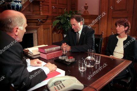 'Emmerdale'  TV - 2000  Jack Sugden [Clive Hornby] and Sarah Sugden [Alyson Spiro] in Court.