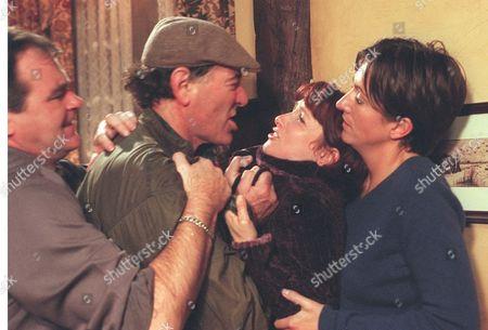 'Emmerdale'  TV - 2000  Billy Hartman, Jack Sugden [Clive Hornby], Sarah [Alyson Spiro] and Angie [Freya Copeland]