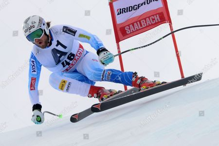 Wiley Maple, of United States, competes during an alpine ski World Cup men's downhill event, in Saalbach Hinterglemm, Austria