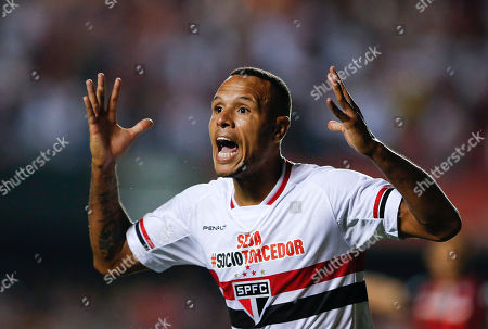 Luis Fabiano Luis Fabiano of Brazil's Sao Paulo FC complains to an assistant referee after a goal scored by teammate Ricardo Centurion was disallowed, during a Copa Libertadores soccer match against Argentina's San Lorenzo, in Sao Paulo, Brazil. Sao Paulo FC went on to win the match 1-0