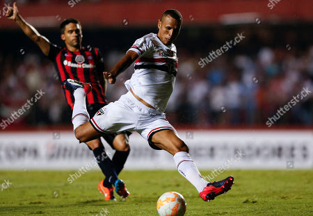 Luis Fabiano Luis Fabiano of Brazil's Sao Paulo FC winds up to kick the ball during a Copa Libertadores soccer match against Argentina's San Lorenzo, in Sao Paulo, Brazil