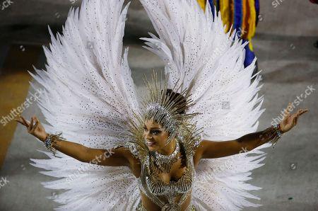 Drum Queen Juliana Alves from the Unidos da Tijuca samba school parades during carnival celebrations at the Sambadrome in Rio de Janeiro, Brazil