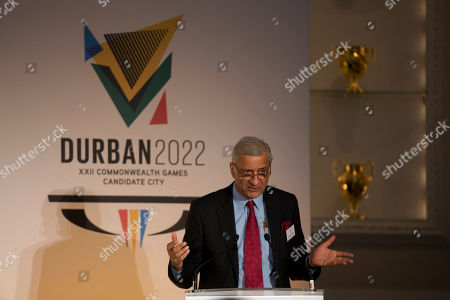 Commonwealth Secretary-General Kamalesh Sharma from India speaks before the formal bid from the candidate city of Durban, South Africa to host the 2022 Commonwealth Games at Mansion House in London