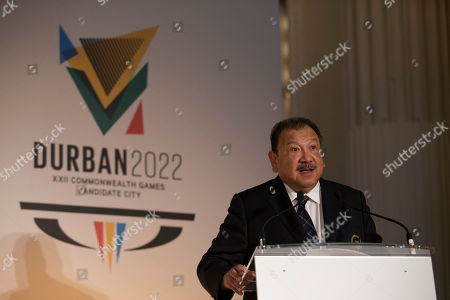 Stock Picture of President of the Commonwealth Games Federation Malaysia's Prince Imran speaks before the start of the formal bid presentation from the South African city of Durban to host the 2022 Commonwealth Games at Mansion House in London