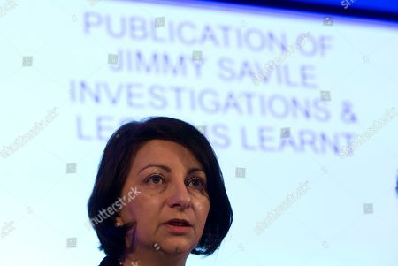 Dr. Androulla Johnstone, the lead investigator for the Investigation into the Association of Jimmy Savile with Stoke Manderville Hospital report speaks at a press conference in London to announce the reports findings, . A new report into widespread sex abuse by the late BBC entertainer Jimmy Savile has found that victims' complaints about his activities were ignored. The report released Thursday showed an extensive pattern of abuse at numerous National Health Service hospitals where the celebrity broadcaster was given wide access to patients even though he was known by some staff to be a sexual predator