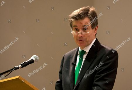 Stock Picture of Former head of the British Secret Intelligence Service (MI6), John Sawers speaks at King's College part of the University of London, in London, Monday, Feb.16, 2015. Sawers led MI6 from 2009 to 2014, and is a visiting professor at the university