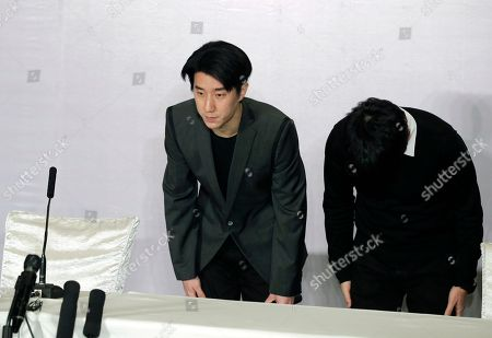 Jaycee Chan Hong Kong actor Jaycee Chan, left, and his manager Steven Chang bow their heads as they arrive for a news conference at a hotel in Beijing . The son of actor Jackie Chan apologized to the public Saturday and asked for a second chance following his release from a six-month jail sentence for allowing people to use marijuana in his apartment