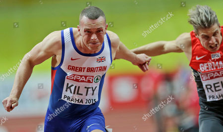 Richard Kilty, Christian Blum Britain's Richard Kilty runs to win the 60m race, next to third placed Germany's Christian Blum, at the European Athletics Indoor Championships in Prague, Czech Republic