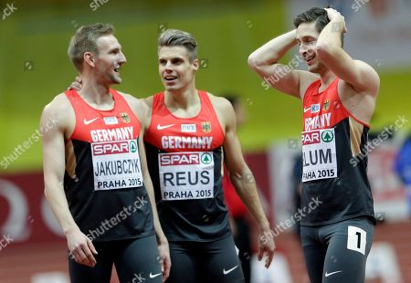 Christian Blum, Julian Reus, Lucas Jakubczyk Germany's Christian Blum, right, celebrates his second place in the 60m race with third placed Germany's Julian Reus, center and sixth placed Germany's Lucas Jakubczyk at the European Athletics Indoor Championships in Prague, Czech Republic