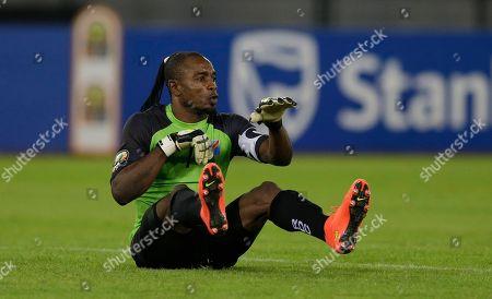 DR Congo's goalkeeper Robert Muteba Kidiaba, celebrates after winning their African Cup of Nations quarter final soccer match against Congo in Bata, Equatorial Guinea