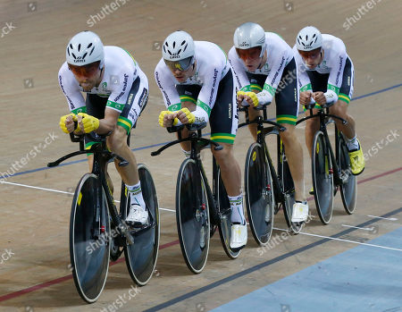 Australian team from left, Jack Bobridge, Alexander Edmondson, Miles Scotson and Luke Davison compete during the final of the Men's Team Pursuit race at the Track Cycling World Championships in Saint-Quentin-en-Yvelines, outside Paris, France, . The New Zealand team won gold, Britain won silver and Australia bronze