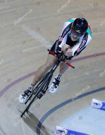 Stefan Kueng of Switzerland, competes during the final of the Men's Pursuit race at the Track Cycling World Championships in Saint-Quentin-en-Yvelines, outside Paris, France, . Stafan Keung of Switzerland won gold, Jack Bobridge of Australia won silver and Julien Morice won bronze