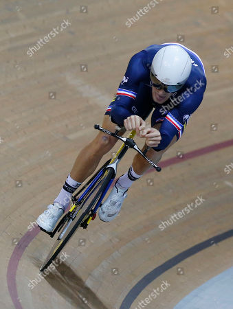 Julien Morice of France, competes during the final of the Men's Pursuit race at the Track Cycling World Championships in Saint-Quentin-en-Yvelines, outside Paris, France, . Stafan Keung of Switzerland won gold, Jack Bobridge of Australia won silver and Julien Morice of France won bronze