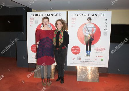 "French Actress Pauline Etienne, left, and Alice de Lencquesaing pose for his movie ""Tokyo Fiancee"" in Paris, France"