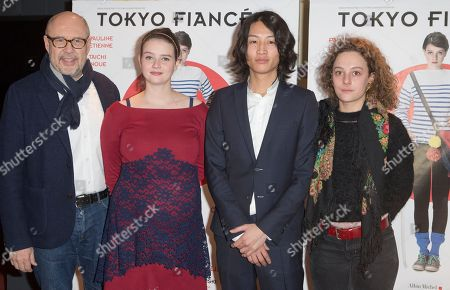 "Belgian Director Stefan Liberski, left, French Actress Pauline Etienne, 2nd left, Japanese Taichi Inoue and French Actress Alice de Lencquesaing pose for his movie ""Tokyo Fiancee"" in Paris, France"
