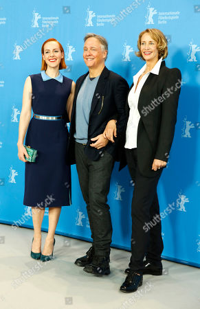 From, left actress Jena Malone, director Mitchell Lichtenstein and actress Janet McTeer pose during the photo call for the film Angelica at the 2015 Berlinale Film Festival in Berlin
