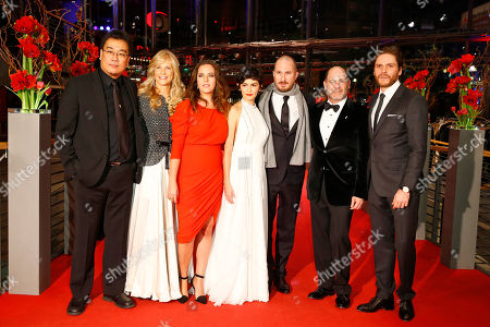 Bong Joon-ho, Martha De Laurentiis,Claudia Llosa, Audrey Tautou, Darren Aronofsky Matthew Weiner and Daniel Bruehl pose for photographers on the red carpet for the award ceremony at the 2015 Berlinale Film Festival in Berlin, Germany