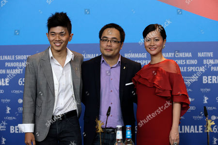 From left, actor Le Cong Hoang, Vietnamese director Phan Dang Di and actress Do Thi Hai Yen during the press conference for the film Big Father, Small Father and Other Stories (Cha va Con va) at the 2015 Berlinale Film Festival in Berlin