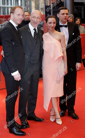 Actor Johann von Buelow, director Oliver Hirschbiegel, actress Katharina Schuettler and actor Christian Friedel, from left, pose on the red carpet for Elser / 13 Minutes at the 2015 Berlinale Film Festival in Berlin
