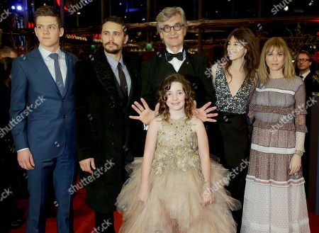 Actor Robert Naylor, actor James Franco, director Wim Wenders, actress Charlotte Gainsbourg, actress Marie-Josee Croze, from left, and actress Lilah Fitzgerald, front, pose during the red carpet for the film Everything Will Be Fine at the 2015 Berlinale Film Festival in Berlin, Germany