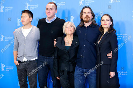 From left, producers Ken Kao, Nicolas Gonda,Sarah Green, actor Christian Bale and actress Natalie Portman during the photo call for the film Knight of Cups at the 2015 Berlinale Film Festival in Berlin