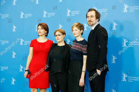 Flonja Kodheli, Laura Bispuri, Alba Rohrwacher and Lars Eidinger pose for photographers during the photo call for the film Sworn Virgin (Vergine giurata) at the 2015 Berlinale Film Festival in Berlin