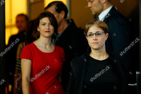 Flonja Kodheli and Laura Bispuri, arrive for the photo call for the film Sworn Virgin (Vergine giurata) at the 2015 Berlinale Film Festival in Berlin