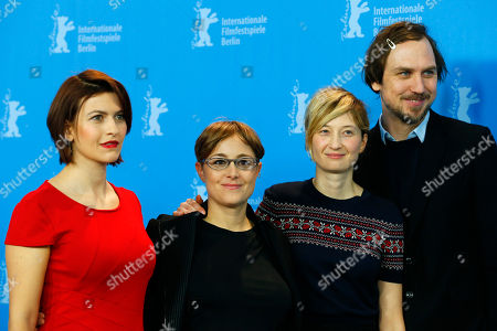 Stock Picture of Flonja Kodheli, Laura Bispuri, Alba Rohrwacher and Lars Eidinger pose for photographers during the photo call for the film Sworn Virgin (Vergine giurata) at the 2015 Berlinale Film Festival in Berlin