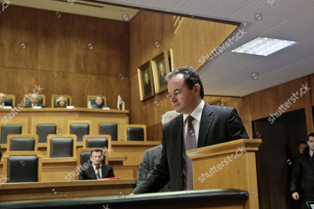 Stock Picture of George Papaconstantinou Former Greek finance minister George Papaconstantinou arrives in court on at the start of a criminal trial against him on allegations he removed relatives' names from a list of Greeks holding Swiss bank accounts in HSBC. Papaconstantinou, 53, denies charges that he doctored the document, known in Greece as the Lagarde List, to remove three of his relatives. He was finance minister from late 2009 to mid 2011 and It was under him that Greece signed its first international bailout in May 2010