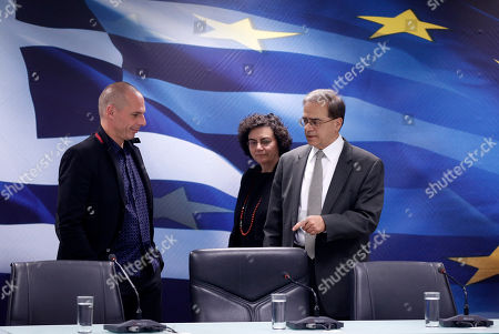 Stock Picture of Gikas Hardouvelis, Yanis Varoufakis, Nadia Valavani Greece's outgoing Finance Minister Gikas Hardouvelis, right, New Finance Minister Yanis Varoufakis, left, and new Deputy Finance Minister Nadia Valavani arrive for a handover ceremony in Athens, . Greece's new leftist prime minister Alexis Tsipras says his government's top priorities are to negotiate with Greece's partners to resolve the country's financial predicament and to deal with what he describes as Greece's humanitarian crisis