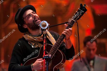 Oscar Isaac, Gaby Moreno Actor Oscar Isaac performs at a concert with Guatemala's singer Gaby Moreno in Guatemala City, late