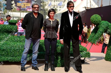 "Stock Picture of Amitabh Bachchan, Akshara Haasan, R. Balakrishnan Bollywood superstar Amitabh Bachchan, right, poses with co-star Akshara Haasan, center and director R. Balakrishnan at an event to promote his film ""Shamitabh"" in the sidelines of a motor show in Mumbai, India, . The film is scheduled for release on Friday"