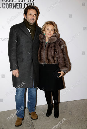 """Anna Molinari, right, and Guido Tarabini arrive for the """"Vogue Talents Corner.com"""" party during the Milan Fashion Week, unveiled in Milan, Italy"""