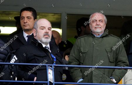 Aurelio De Laurentis Napoli soccer club president Aurelio De Laurentis, right, stands on the tribune prior to the start of a Serie A soccer match against Hellas Verona at Bentegodi stadium in Verona, Italy