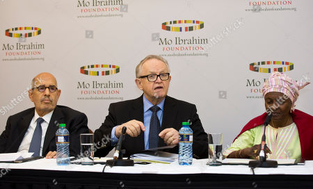 Mohamed ElBaradei, Martti Ahtisaari, Aicha Bah Diallo Members of the Prize Committee Mohamed ElBaradei, former Director General of the International Atomic Energy Agency and Nobel Laureate, left, Martti Ahtisaari, former President of Finland and Nobel Laureate, center, and Aicha Bah Diallo, former Minister of Education in Guinea and Director of Basic Education at UNESCO, right, speak at a press conference where the winner of the 2014 Ibrahim Prize for Achievement in African Leadership was announced, in Nairobi, Kenya . Namibian President Hifikepunye Pohamba has won the 2014 Ibrahim Prize for African leadership, the first African leader deemed worthy of the honor since 2011
