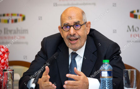 Stock Photo of Mohamed ElBaradei Member of the Prize Committee Mohamed ElBaradei, former Director General of the International Atomic Energy Agency and Nobel Laureate, speaks at a press conference where the winner of the 2014 Ibrahim Prize for Achievement in African Leadership was announced, in Nairobi, Kenya . Namibian President Hifikepunye Pohamba has won the 2014 Ibrahim Prize for African leadership, the first African leader deemed worthy of the honor since 2011