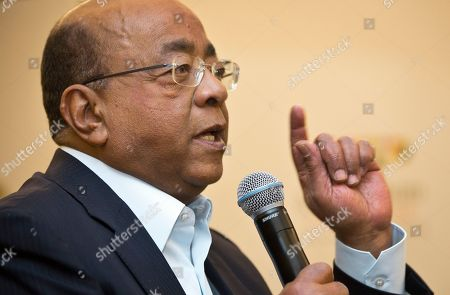 Stock Image of Mo Ibrahim Mo Ibrahim, Chairman and Founder of the Mo Ibrahim Foundation, answers a question from a journalist at a press conference where the winner of the 2014 Ibrahim Prize for Achievement in African Leadership was announced, in Nairobi, Kenya . Namibian President Hifikepunye Pohamba has won the 2014 Ibrahim Prize for African leadership, the first African leader deemed worthy of the honor since 2011