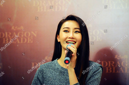 """Lin Peng Chinese actress Lin Peng speaks during a press conference to promote her new movie """" Dragon Blade"""" in a hotel in Kuala Lumpur, Malaysia, on"""