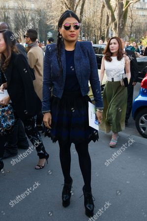 Princess Siriwanwaree Nareerat Of Thailand poses as she arrives for Chloe's ready to wear fall-winter 2015-2016 fashion collection during Paris fashion week, Paris, France