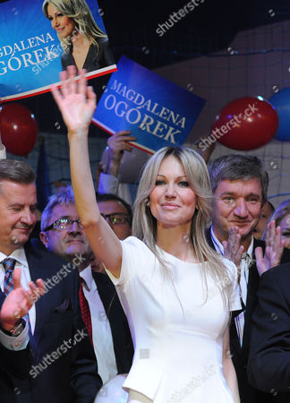 Magdalena Ogorek Poland's leading left-wing candidate for president Magdalena Ogorek greets supporters during her electoral convention in Ozarow Mazowiecki, Poland, . Ogorek criticized Poland's current leadership for its strong critical stance toward Russia and suggested it bears some blame for the deep tensions between the two neighbors. The presidential election will be held May 10