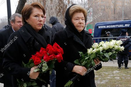 Boris Nemtsov, Naina Yeltsin Naina Yeltsin, widow of the former Russian President Boris Yeltsin, right, and her daughter Tatyana, left, arrive to pay the last respects at the coffin of Boris Nemtsov during a farewell ceremony inside the Sakharov center in Moscow, Russia, . Mourners are lining up outside a Moscow human rights center for the funeral of murdered Nemtsov. a charismatic Russian opposition leader and sharp critic of President Vladimir Putin, who was gunned down on Friday, Feb. 27, 2015 near the Kremlin