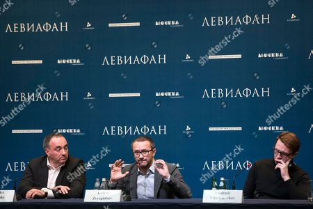 """Andrey Zvyagintsev, Alexander Rodnyansky, Vladimir Vdovichenkov Russian film director Andrey Zvyagintsev, flanked by producer Alexander Rodnyansky, left, and actor Vladimir Vdovichenkov, speaks at a news conference ahead of the Russian premiere of his film """"Leviathan"""", in Moscow, Russia, ahead of the premiere of his film """"Leviathan"""" in Russia. Zvyagintsev's film """"Leviathan,"""" was nominated as a finalist for best foreign-language film at the 87th annual Academy Awards, after winning the Golden Globe"""