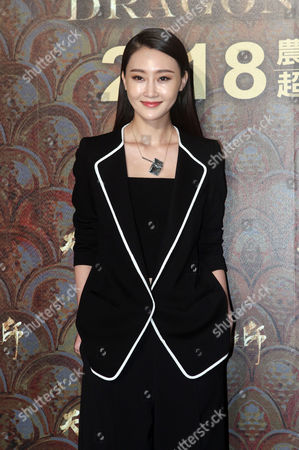 """Lin Peng Chinese actress Lin Peng poses for photo call during an event to promote her new movie """"Dragon Blade"""" in Taipei, Taiwan"""