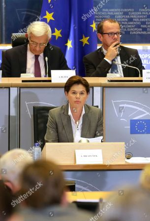 Alenka Bratusek European Union Commissioner designate for Energy Union Alenka Bratusek, centre, attends a hearing at the Committee on Industry, Research and Energy and the Committee on Environment, Public Health and Food Safety, at the European Parliament in Brussels, on