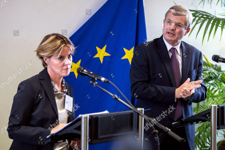 Tonio Borg, Beatrice Lorenzin EU Commissioner for Health Tonio Borg, right, and Italy's Health Minister Beatrice Lorenzin address the media during an high level meeting on Ebola at the Albert Borschette Congress Center in Brussels on