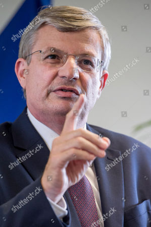 Stock Picture of Tonio Borg EU Commissioner for Health Tonio Borg addresses the media during an high level meeting on Ebola at the Albert Borschette Congress Center in Brussels on