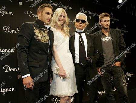 Sebastian Jondeau, Claudia Schiffer, Karl Lagerfeld and Brad Kroenig