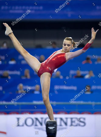 Claire Martin Claire Martin of France in action, on the balance beam as she competes in the women's qualifying round of the Artistic Gymnastics World Championships at the Guangxi Gymnasium in Nanning, capital of southwest China's Guangxi Zhuang Autonomous Region